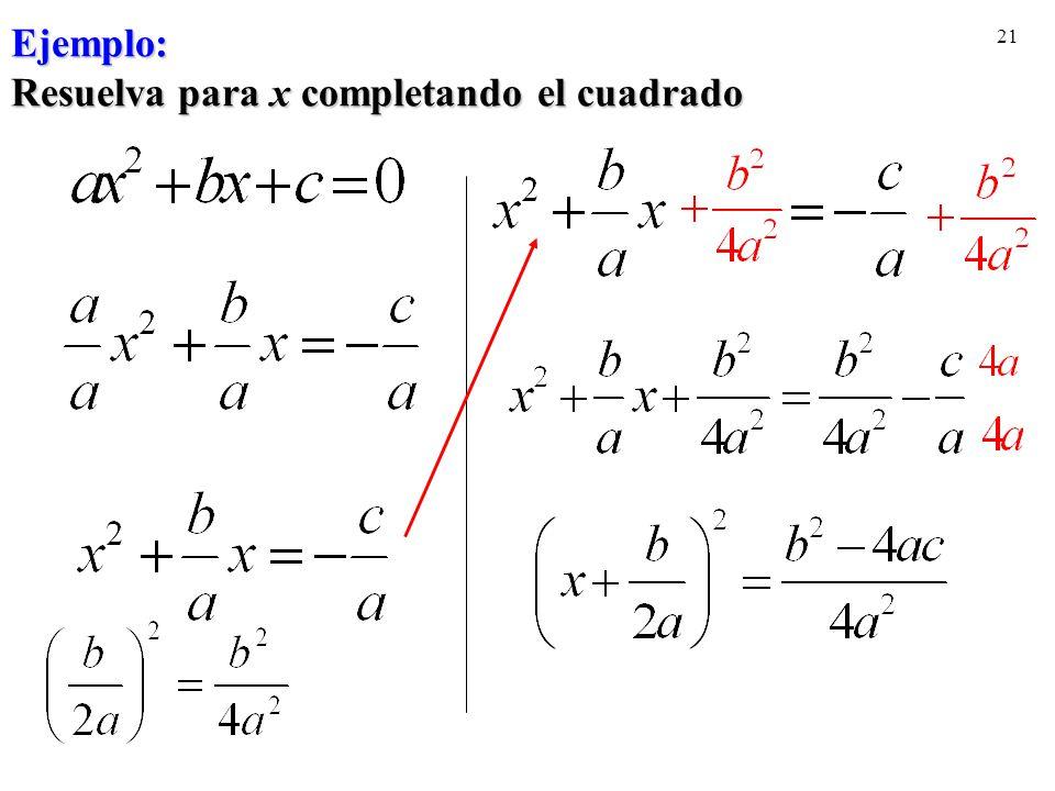 21 Ejemplo: Resuelva para x completando el cuadrado