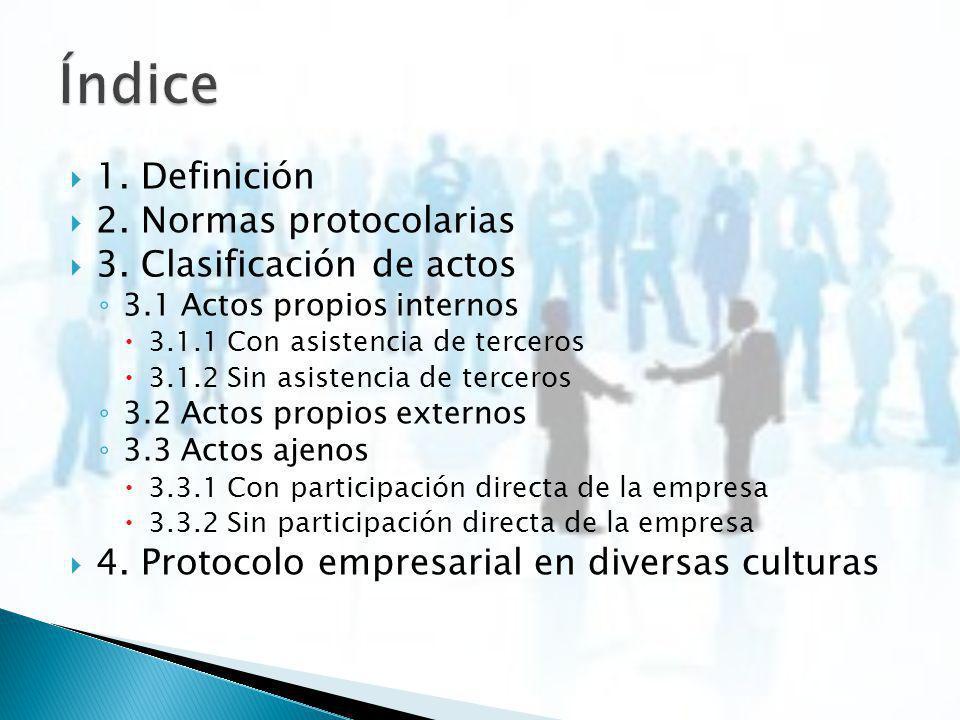 1. Definición 2. Normas protocolarias 3. Clasificación de actos 3.1 Actos propios internos 3.1.1 Con asistencia de terceros 3.1.2 Sin asistencia de te