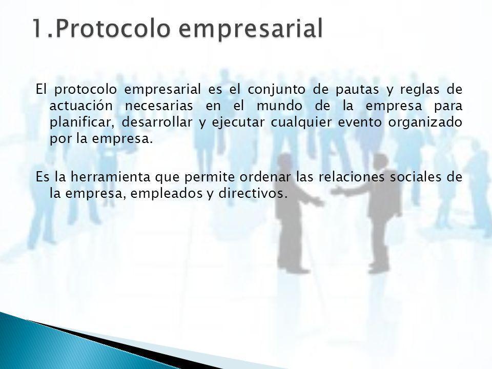 El protocolo empresarial es el conjunto de pautas y reglas de actuación necesarias en el mundo de la empresa para planificar, desarrollar y ejecutar c