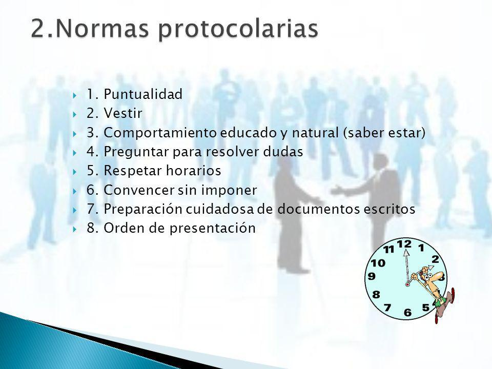 1.Puntualidad 2. Vestir 3. Comportamiento educado y natural (saber estar) 4.
