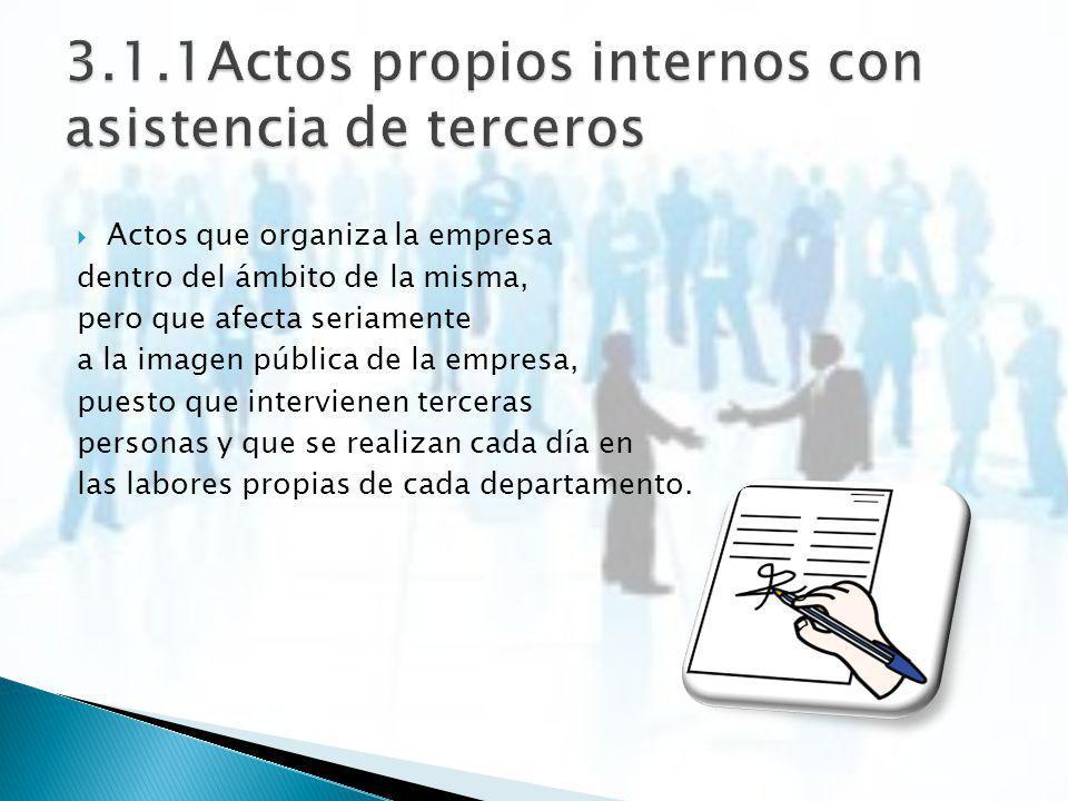 Actos que organiza la empresa dentro del ámbito de la misma, pero que afecta seriamente a la imagen pública de la empresa, puesto que intervienen terc