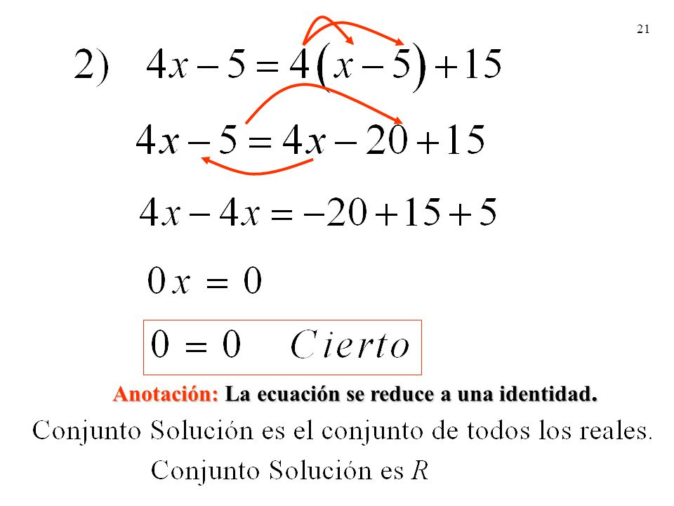 21 Anotación: La ecuación se reduce a una identidad.