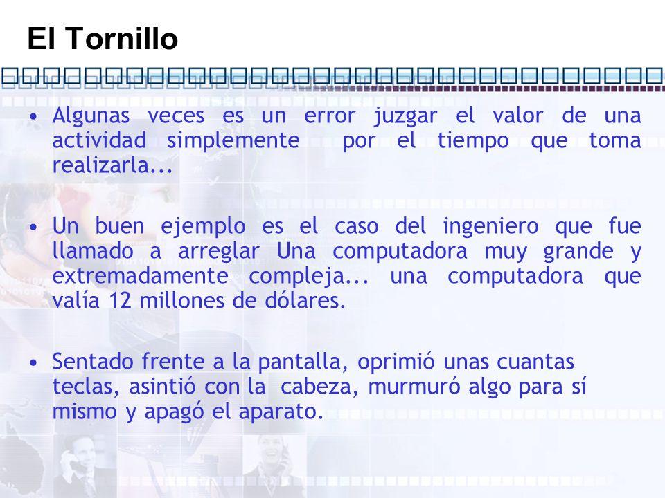 El Tornillo Procedió a sacar un pequeño destornillador de su bolsillo y dio vuelta y media a un minúsculo tornillo.