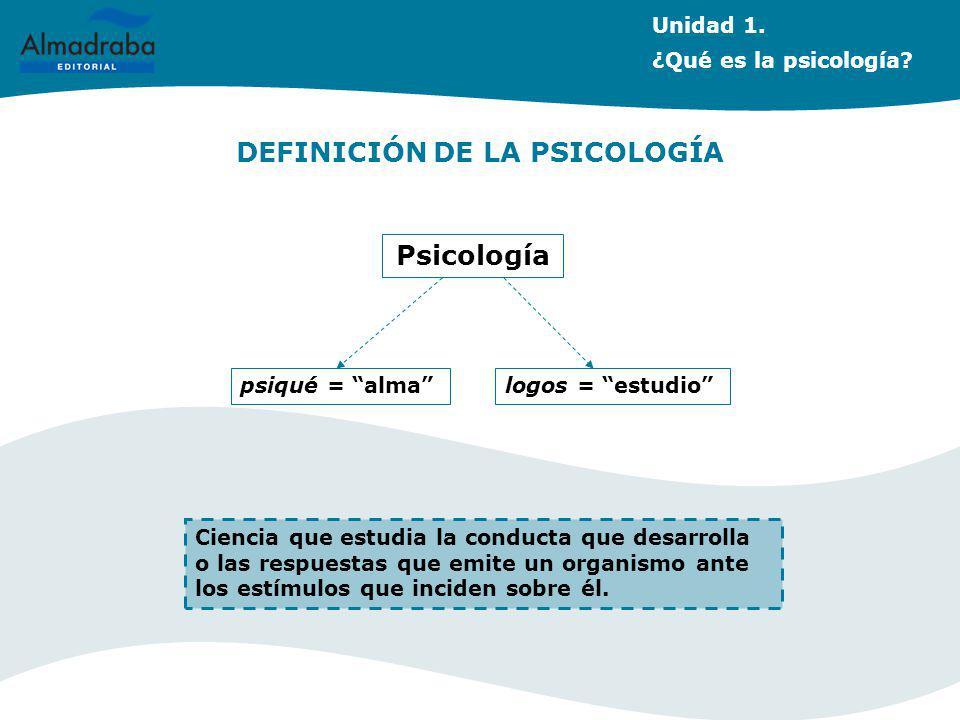Unidad 3. La Psicología dinámica DEFINICIÓN DE LA PSICOLOGÍA Psicología Ciencia que estudia la conducta que desarrolla o las respuestas que emite un o