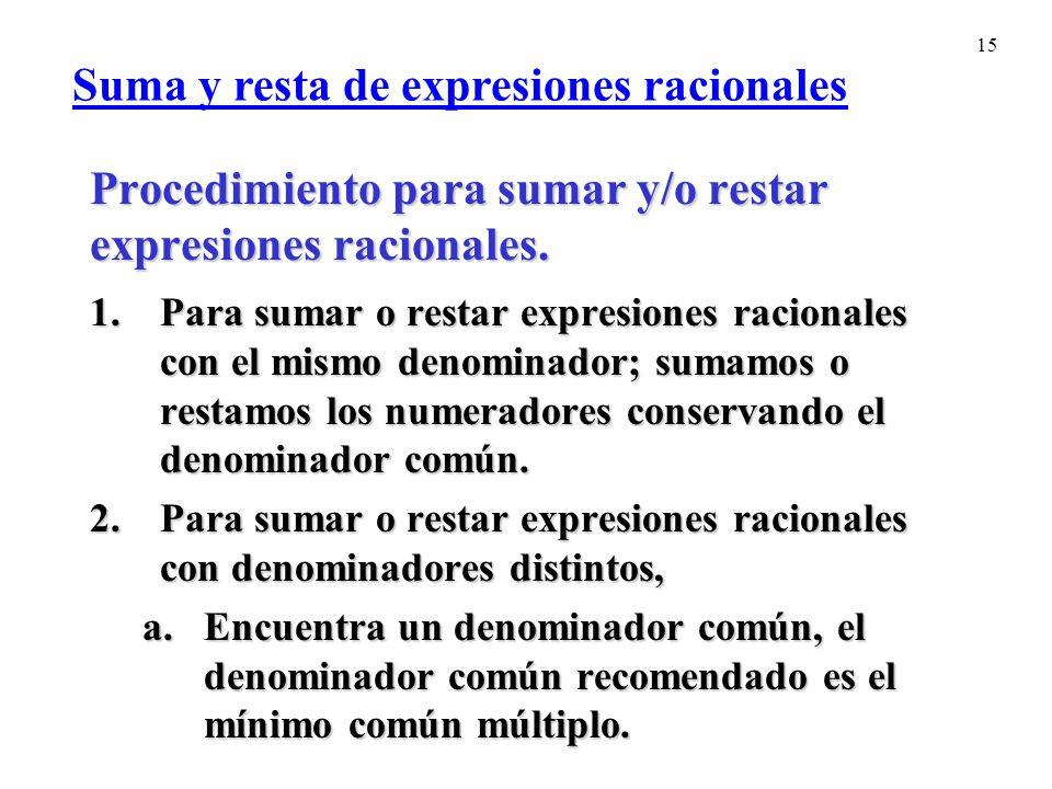 15 Procedimiento para sumar y/o restar expresiones racionales.
