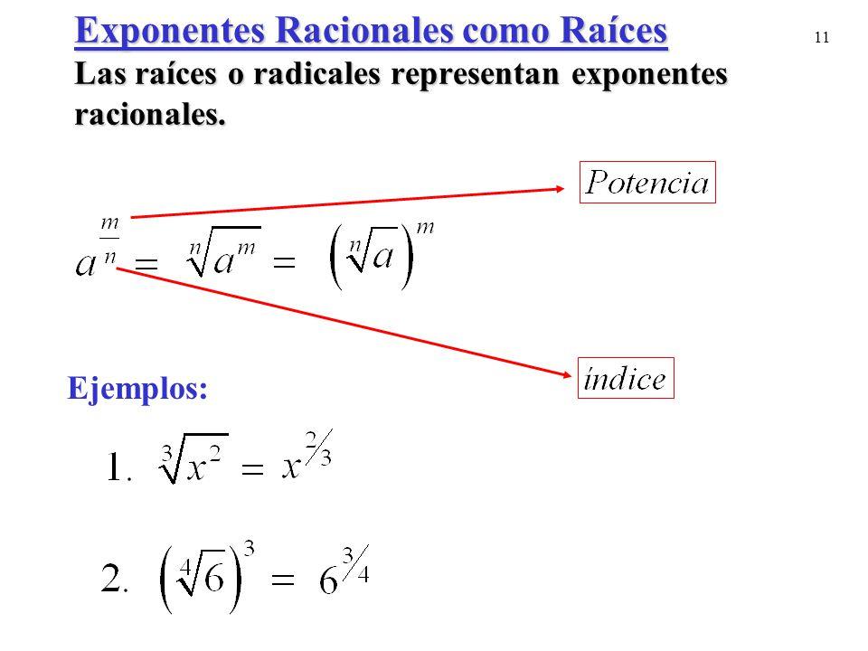 11 Exponentes Racionales como Raíces Las raíces o radicales representan exponentes racionales. Ejemplos: