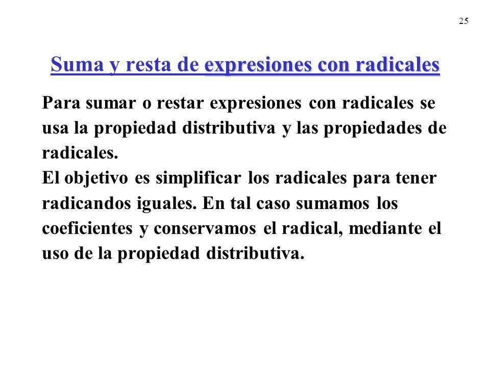 25 expresiones con radicales Suma y resta de expresiones con radicales Para sumar o restar expresiones con radicales se usa la propiedad distributiva