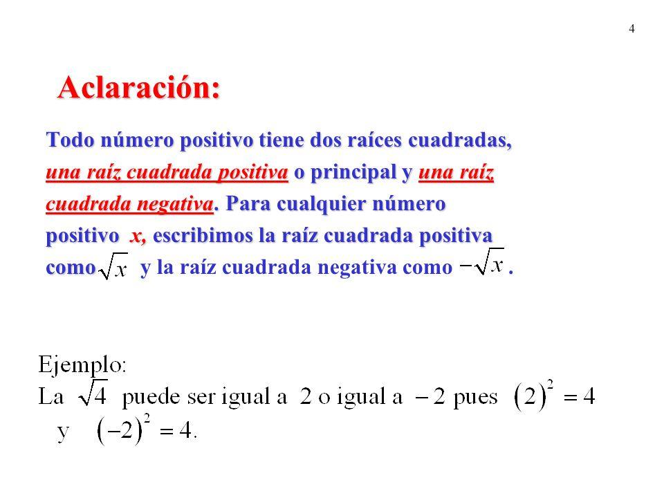 4 Aclaración: Todo número positivo tiene dos raíces cuadradas, una raíz cuadrada positiva o principal y una raíz cuadrada negativa. Para cualquier núm