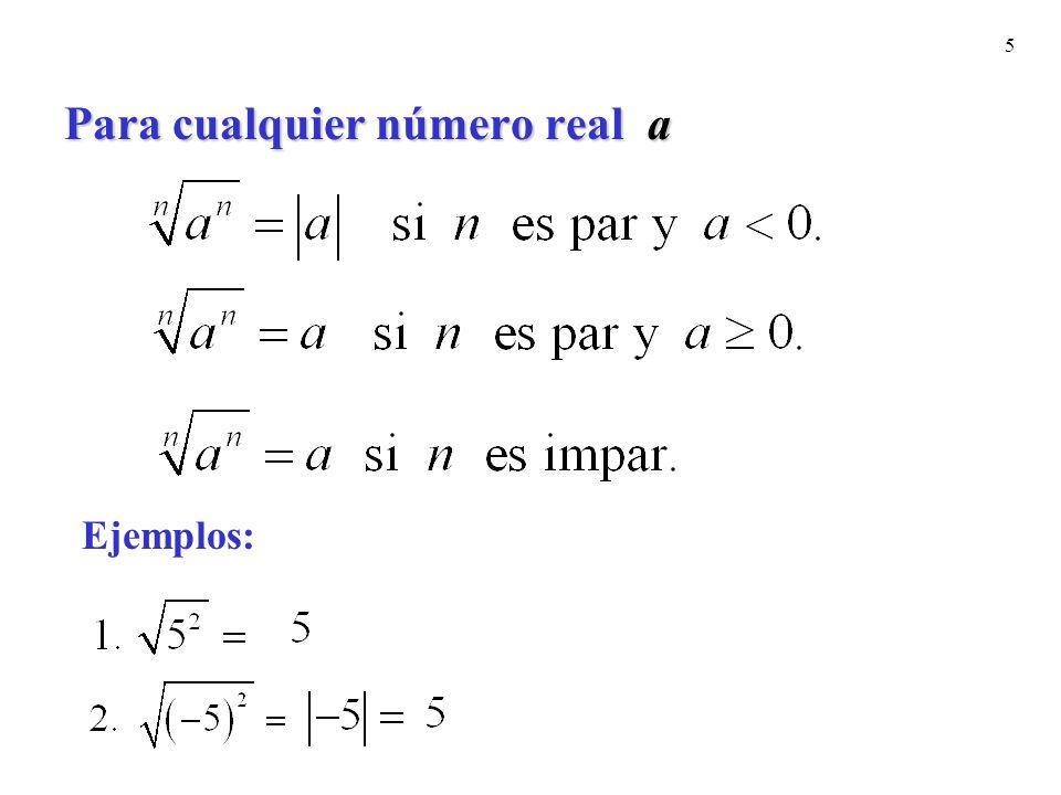 16 Ejemplos: Racionaliza cada denominador.Suponga que las Ejemplos: Racionaliza cada denominador.