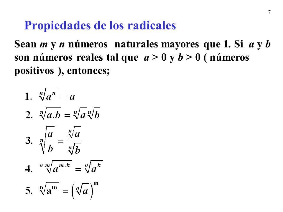 7 Propiedades de los radicales Sean m y n números naturales mayores que 1. Si a y b son números reales tal que a > 0 y b > 0 ( números positivos ), en