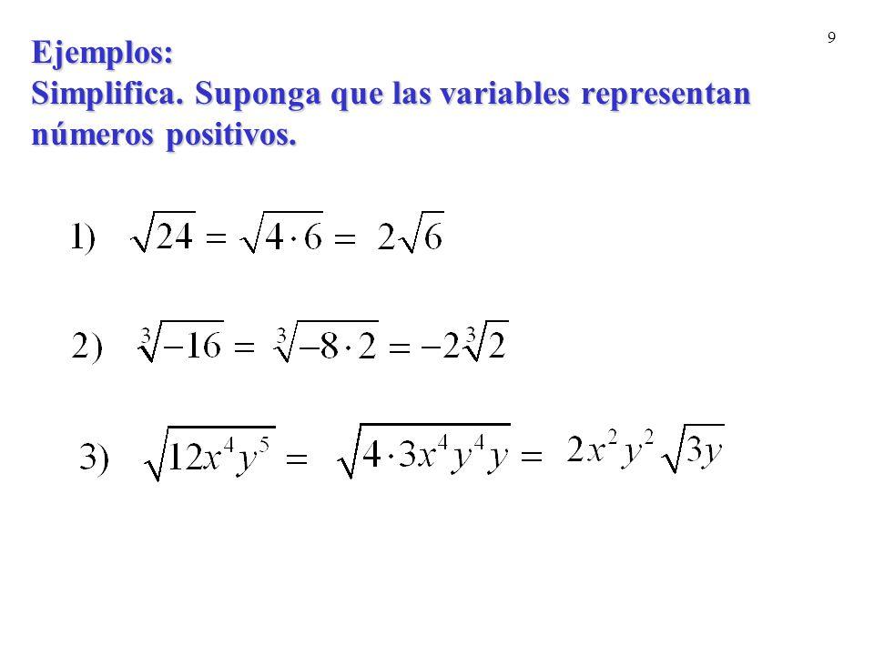 20 Ejemplos: Racionaliza el numerador.