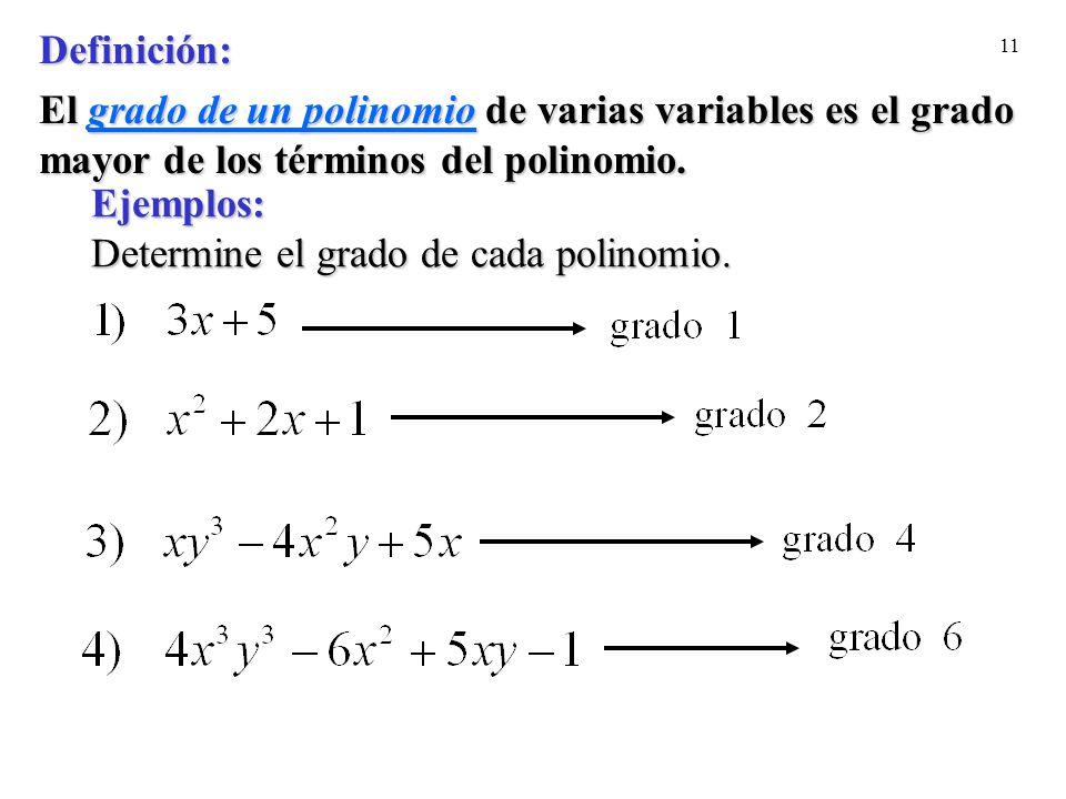 11 Ejemplos: Determine el grado de cada polinomio. Definición: El grado de un polinomiode varias variableses el grado mayor de los términos del polino