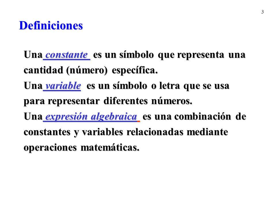 3 Definiciones Una constante es un símbolo que representa una cantidad (número) específica. Una variable es un símbolo o letra que se usa para represe