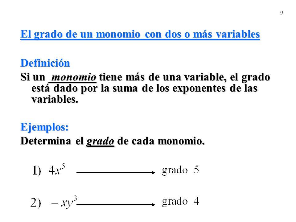 9 El grado de un monomio con dos o más variables Definición Si un monomio tiene más de una variable, el grado está dado por la suma de los exponentes