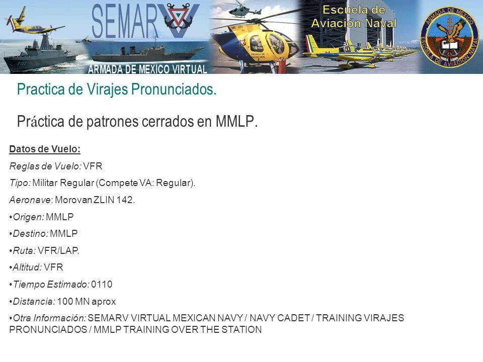 Practica de Virajes Pronunciados. Pr á ctica de patrones cerrados en MMLP. Datos de Vuelo: Reglas de Vuelo: VFR Tipo: Militar Regular (Compete VA: Reg