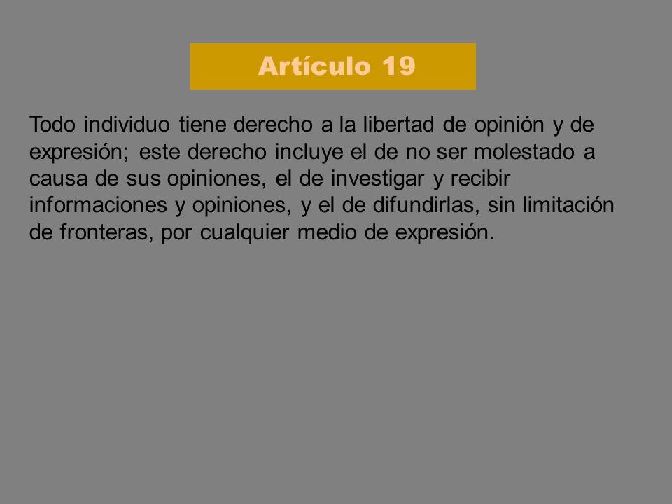 Todo individuo tiene derecho a la libertad de opinión y de expresión; este derecho incluye el de no ser molestado a causa de sus opiniones, el de inve