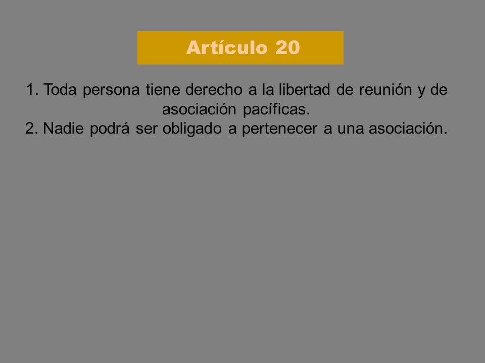 1. Toda persona tiene derecho a la libertad de reunión y de asociación pacíficas. 2. Nadie podrá ser obligado a pertenecer a una asociación. Artículo