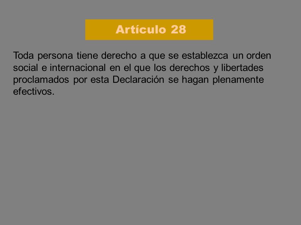 Toda persona tiene derecho a que se establezca un orden social e internacional en el que los derechos y libertades proclamados por esta Declaración se