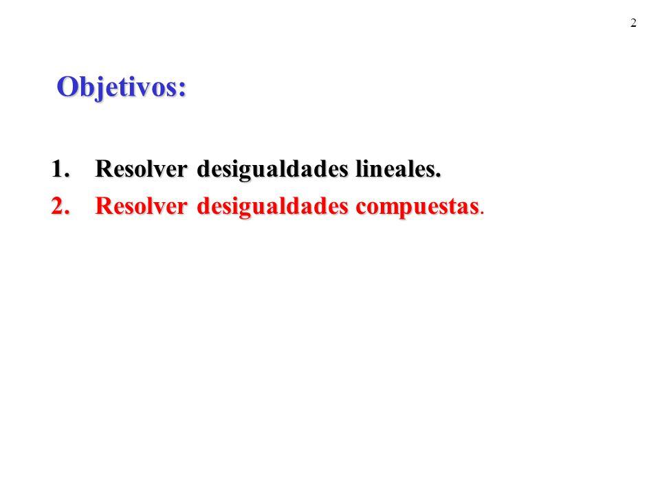 2 Objetivos: 1.Resolver desigualdades lineales. 2.Resolver desigualdades compuestas 2.Resolver desigualdades compuestas.