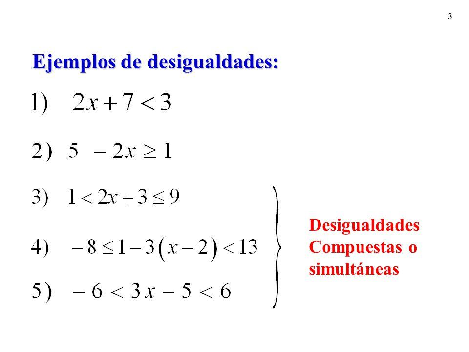 3 Ejemplos de desigualdades: Desigualdades Compuestas o simultáneas