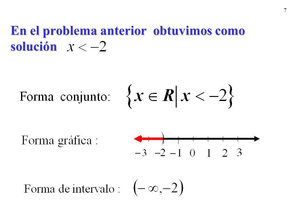 7 En el problema anterior obtuvimos como solución
