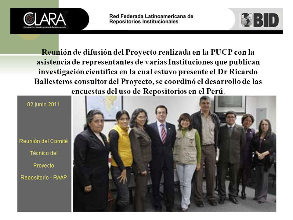 Reunión de difusión del Proyecto realizada en la PUCP con la asistencia de representantes de varias Instituciones que publican investigación científic