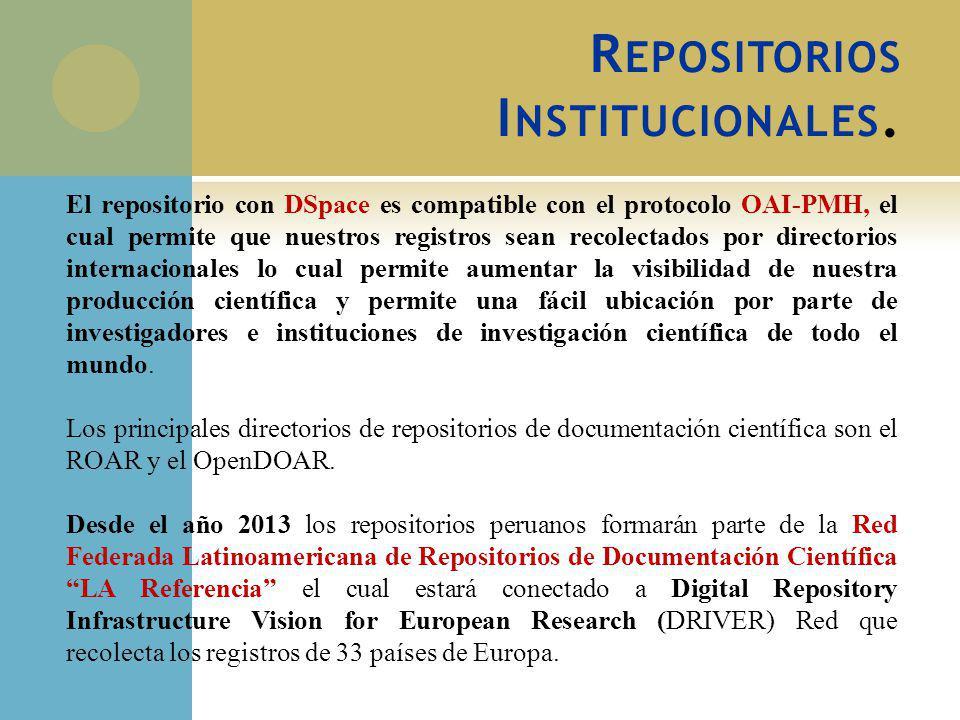 El repositorio con DSpace es compatible con el protocolo OAI-PMH, el cual permite que nuestros registros sean recolectados por directorios internacion