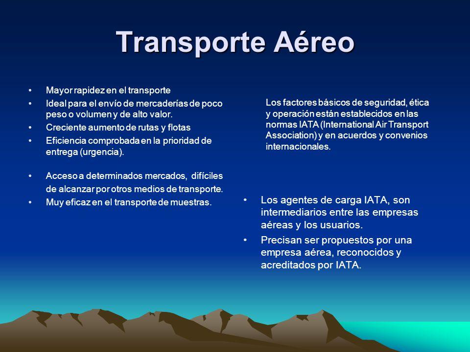 Transporte Aéreo Mayor rapidez en el transporte Ideal para el envío de mercaderías de poco peso o volumen y de alto valor. Creciente aumento de rutas