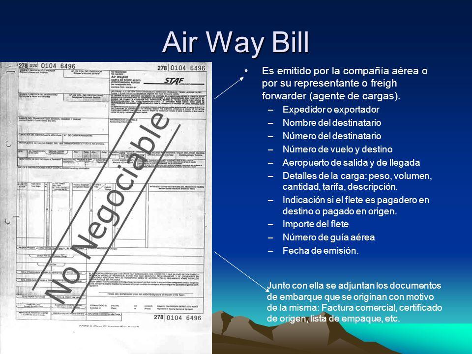 Air Way Bill Es emitido por la compañía aérea o por su representante o freigh forwarder (agente de cargas). –Expedidor o exportador –Nombre del destin