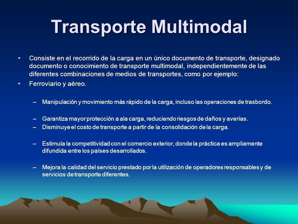 Transporte Multimodal Consiste en el recorrido de la carga en un único documento de transporte, designado documento o conocimiento de transporte multi