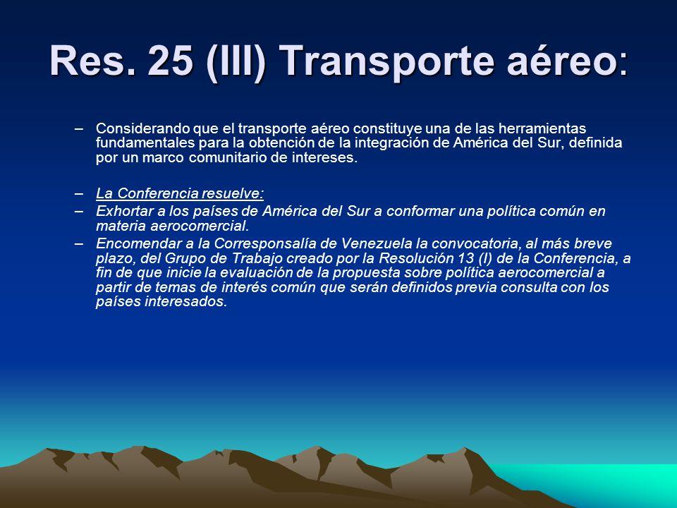 Res. 25 (III) Transporte aéreo: –Considerando que el transporte aéreo constituye una de las herramientas fundamentales para la obtención de la integra