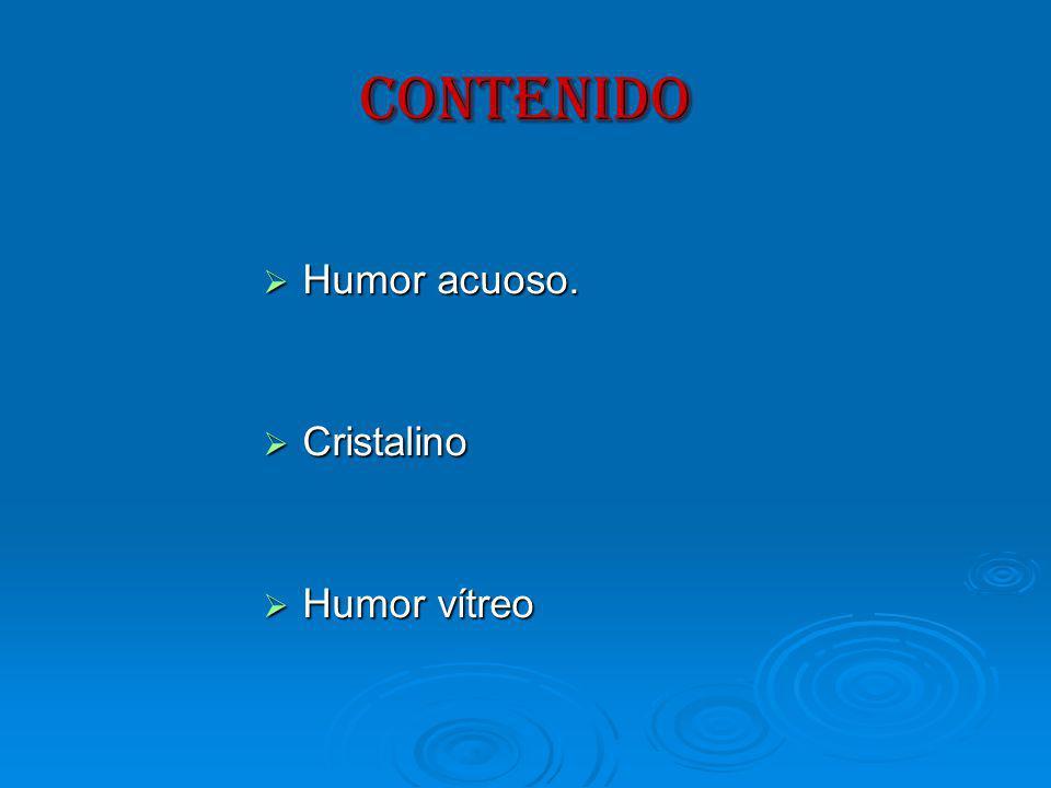 CONTENIDO Humor acuoso. Humor acuoso. Cristalino Cristalino Humor vítreo Humor vítreo