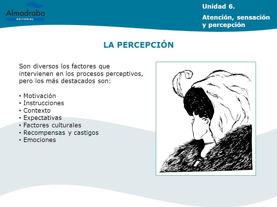 LA PERCEPCIÓN Son diversos los factores que intervienen en los procesos perceptivos, pero los más destacados son: Motivación Instrucciones Contexto Ex