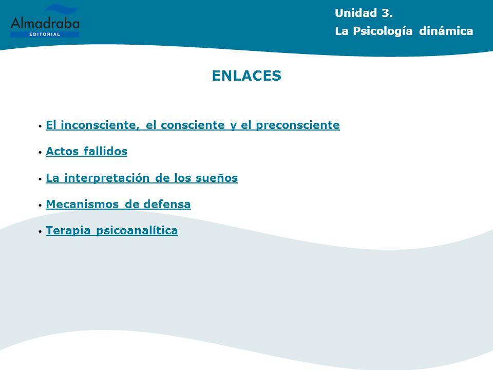 Unidad 3. La Psicología dinámica ENLACES El inconsciente, el consciente y el preconsciente Actos fallidos La interpretación de los sueños Mecanismos d