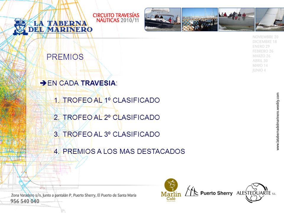 EN CADA TRAVESIA: 1.TROFEO AL 1º CLASIFICADO 2.TROFEO AL 2º CLASIFICADO 3.TROFEO AL 3º CLASIFICADO 4.PREMIOS A LOS MAS DESTACADOS PREMIOS