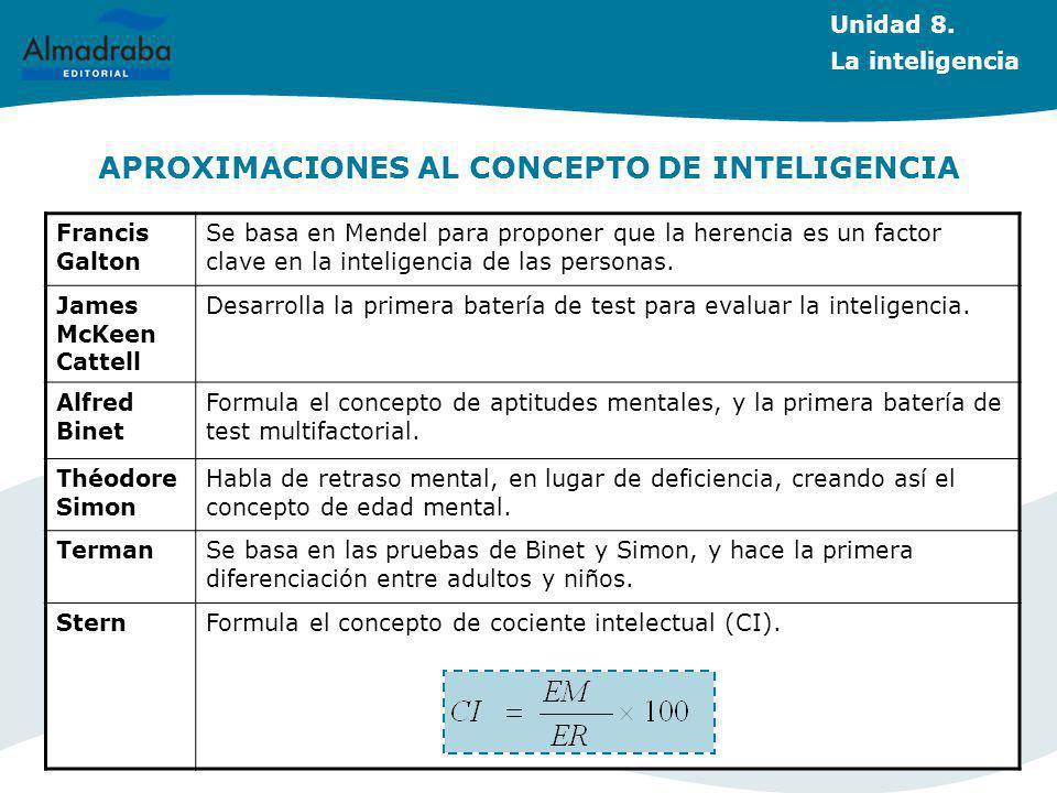 APROXIMACIONES AL CONCEPTO DE INTELIGENCIA Unidad 8.