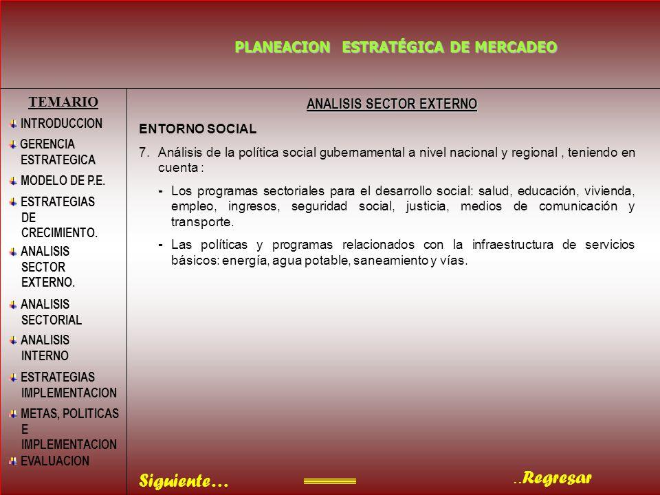 ..Regresar PLANEACION ESTRATÉGICA DE MERCADEO BIBLIOGRAFIA TEMARIO INTRODUCCION MODELO DE P.E.