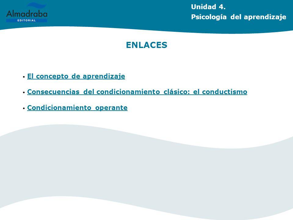 ENLACES El concepto de aprendizaje Consecuencias del condicionamiento clásico: el conductismo Condicionamiento operante Unidad 4. Psicología del apren