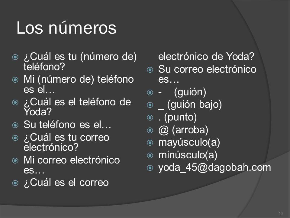 Los números ¿Cuál es tu (número de) teléfono.