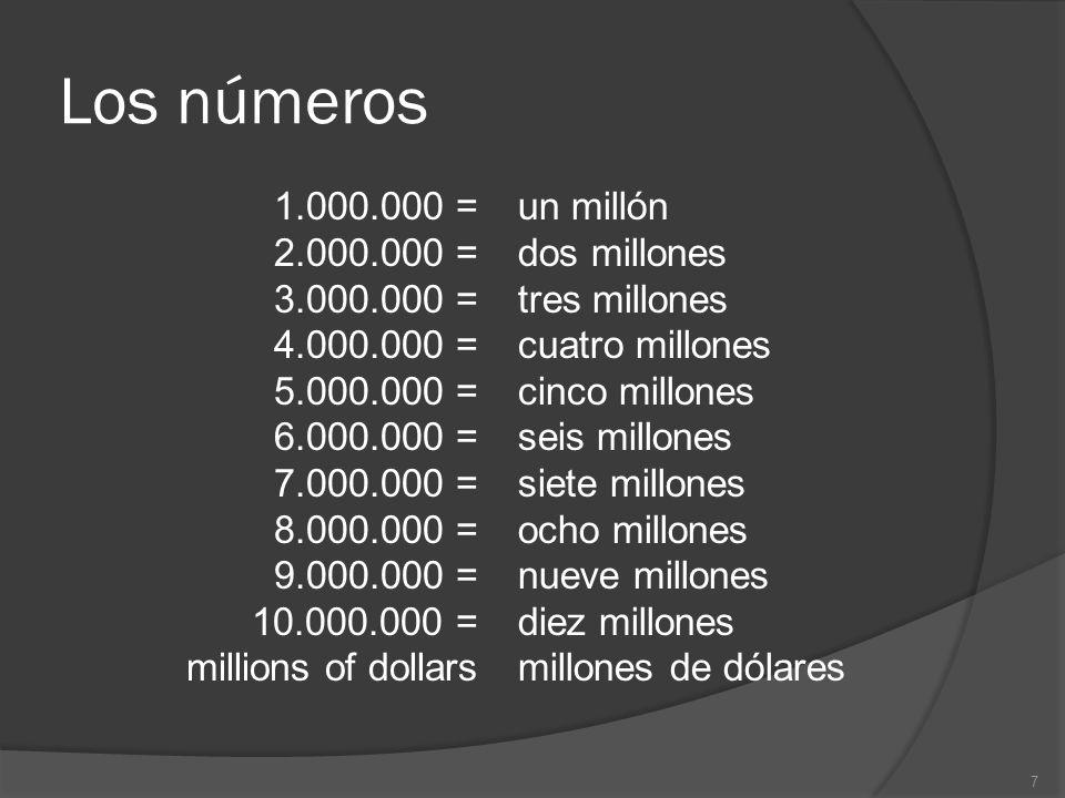 Los números 1.000.000 = 2.000.000 = 3.000.000 = 4.000.000 = 5.000.000 = 6.000.000 = 7.000.000 = 8.000.000 = 9.000.000 = 10.000.000 = millions of dollars un millón dos millones tres millones cuatro millones cinco millones seis millones siete millones ocho millones nueve millones diez millones millones de dólares 7