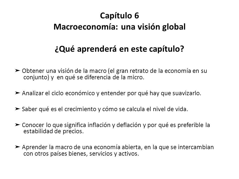 Capítulo 6 Macroeconomía: una visión global ¿Qué aprenderá en este capítulo? Obtener una visión de la macro (el gran retrato de la economía en su conj