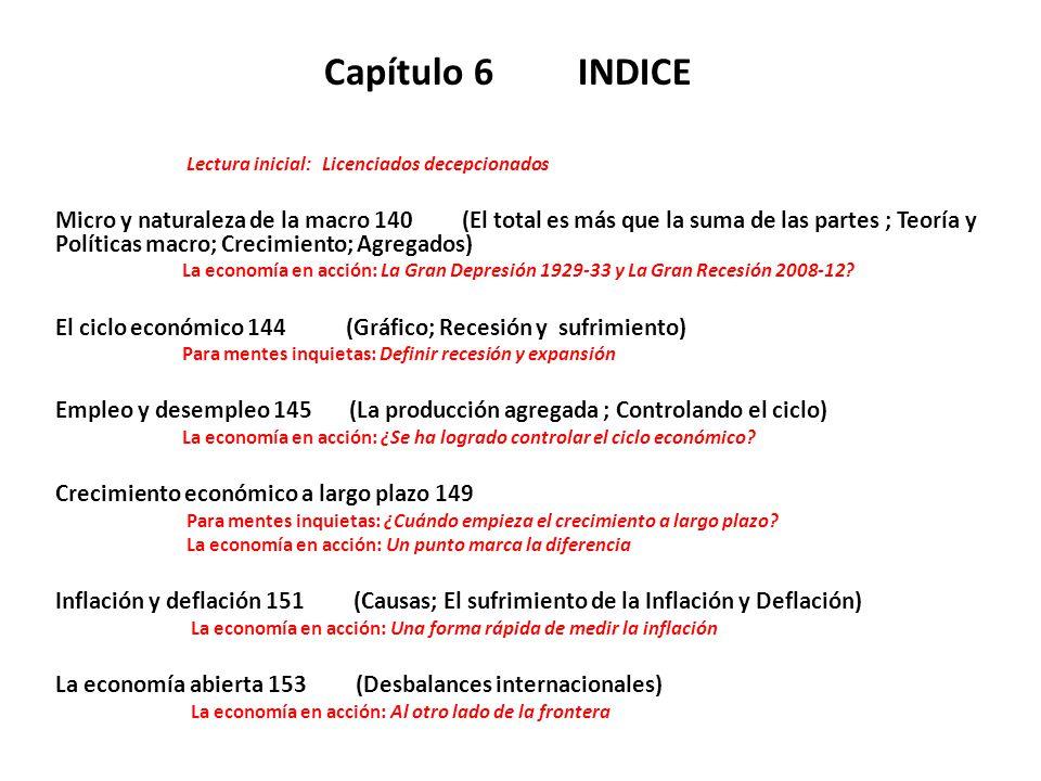 Capítulo 6 INDICE Lectura inicial: Licenciados decepcionados Micro y naturaleza de la macro 140 (El total es más que la suma de las partes ; Teoría y