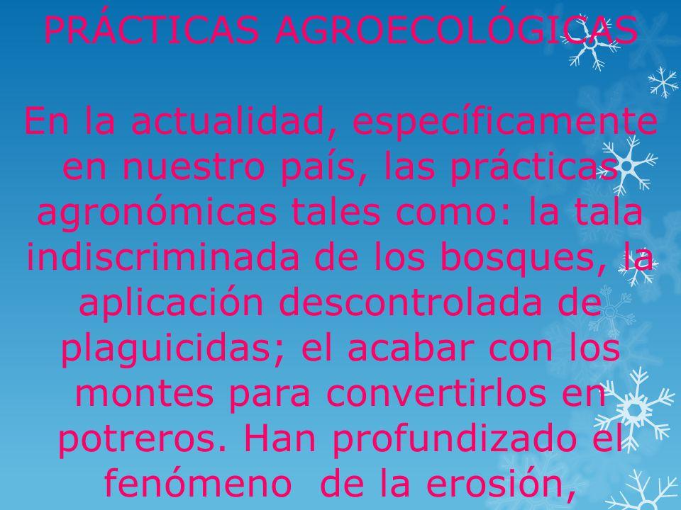 Algunos ejemplos de manejo de suelo son: 1Escogencia del cultivo: consiste en sembrar el cultivo que mas se adapte al tipo de suelo y al grado del pendiente del terreno.