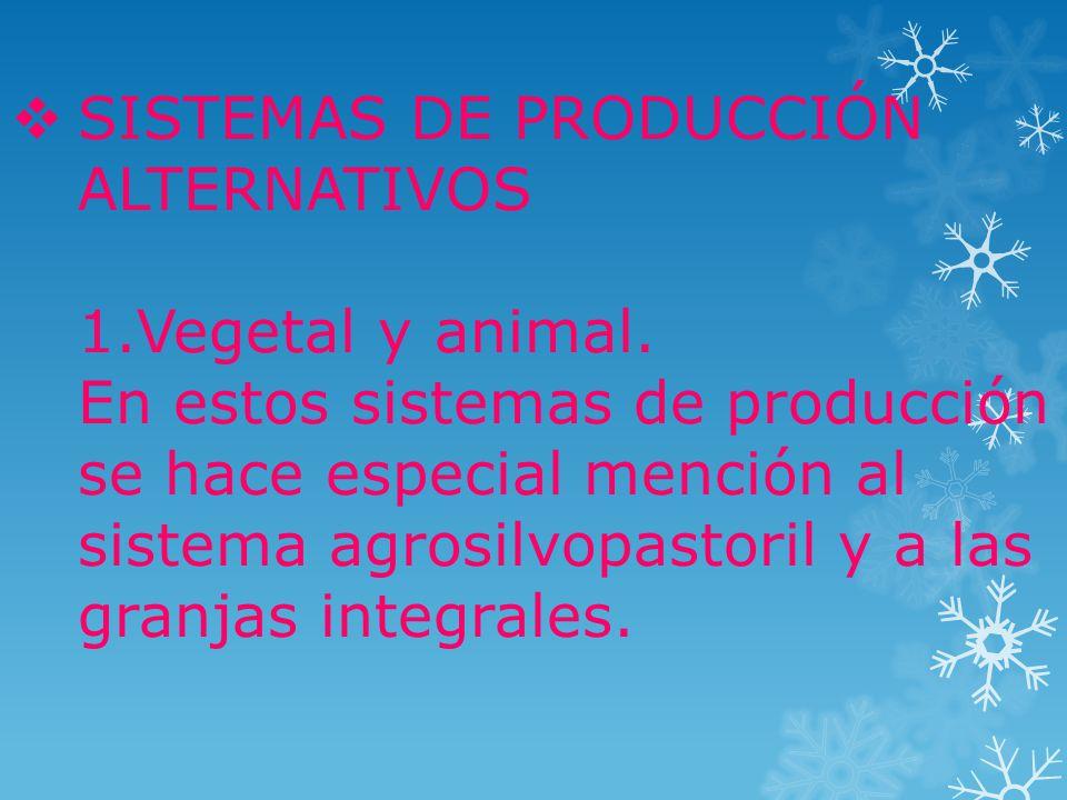 SISTEMAS DE PRODUCCIÓN ALTERNATIVOS 1.Vegetal y animal.