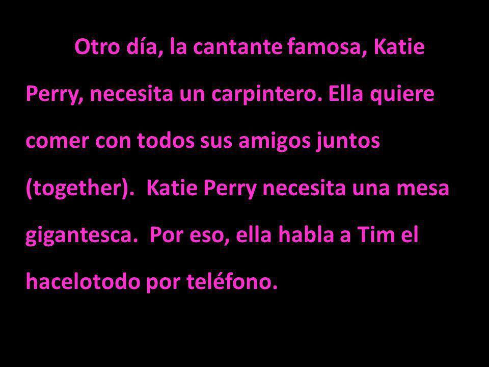 Otro día, la cantante famosa, Katie Perry, necesita un carpintero. Ella quiere comer con todos sus amigos juntos (together). Katie Perry necesita una