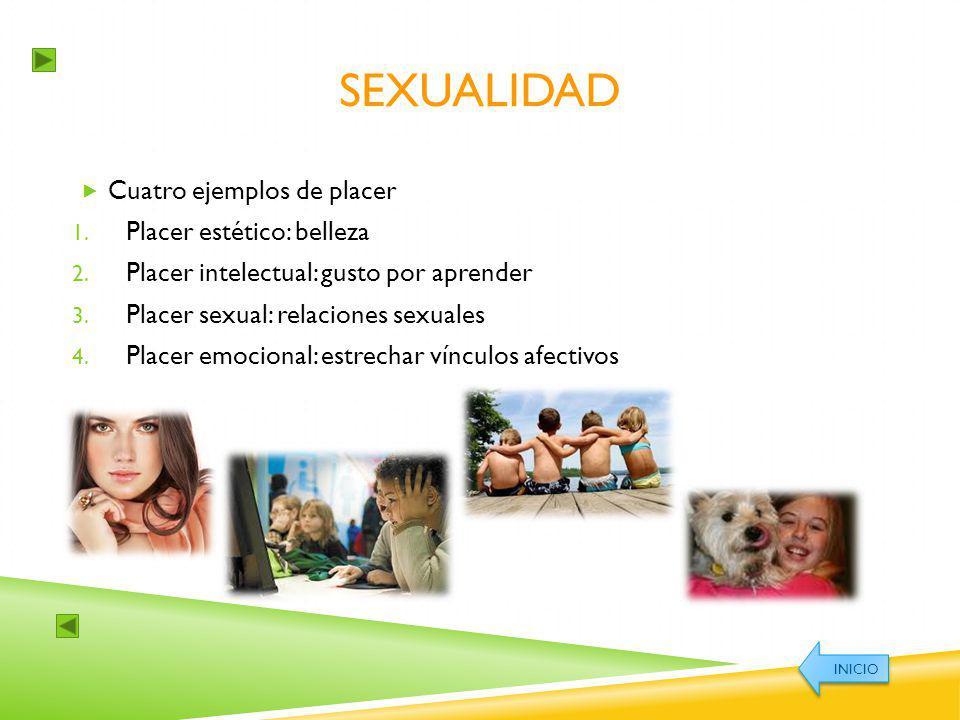 SEXUALIDAD Cuatro ejemplos de placer 1. Placer estético: belleza 2. Placer intelectual: gusto por aprender 3. Placer sexual: relaciones sexuales 4. Pl