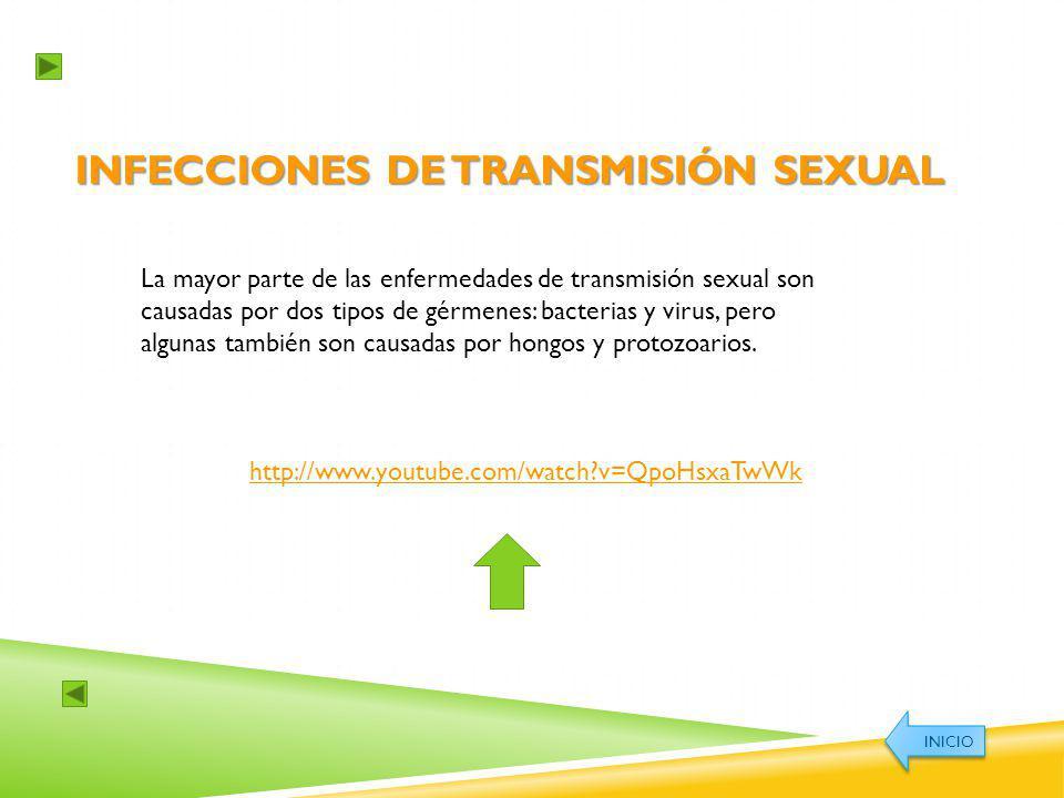 INFECCIONES DE TRANSMISIÓN SEXUAL La mayor parte de las enfermedades de transmisión sexual son causadas por dos tipos de gérmenes: bacterias y virus,