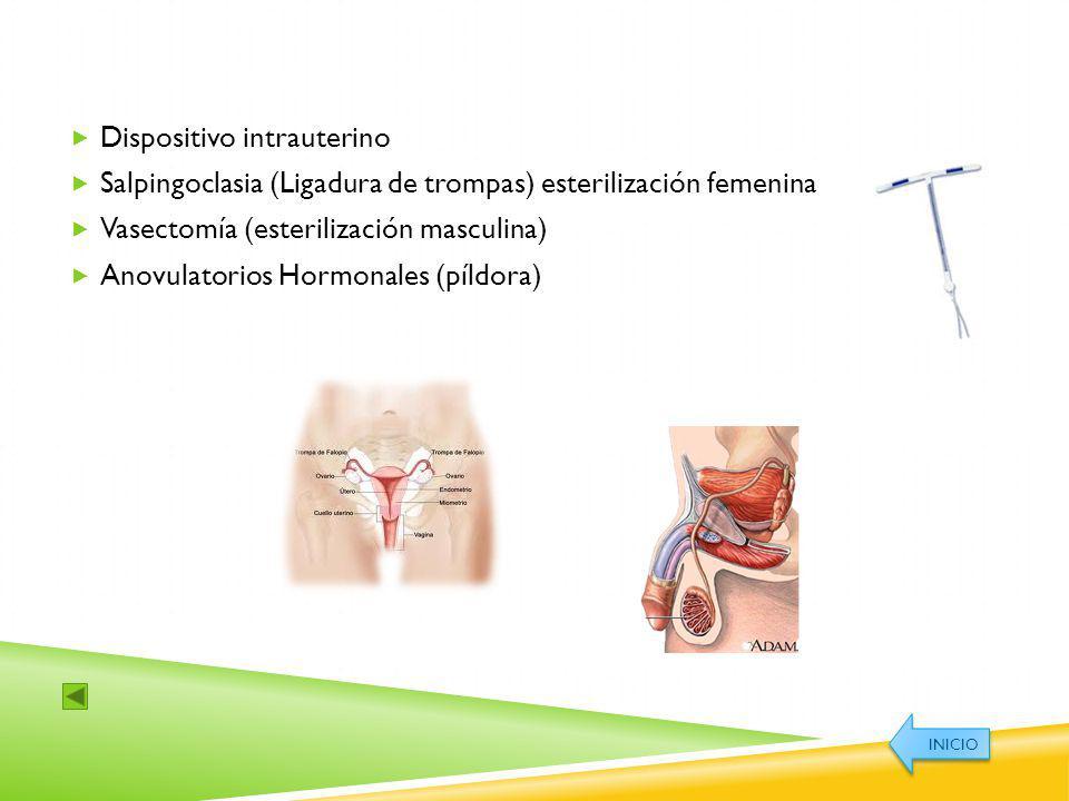 Dispositivo intrauterino Salpingoclasia (Ligadura de trompas) esterilización femenina Vasectomía (esterilización masculina) Anovulatorios Hormonales (