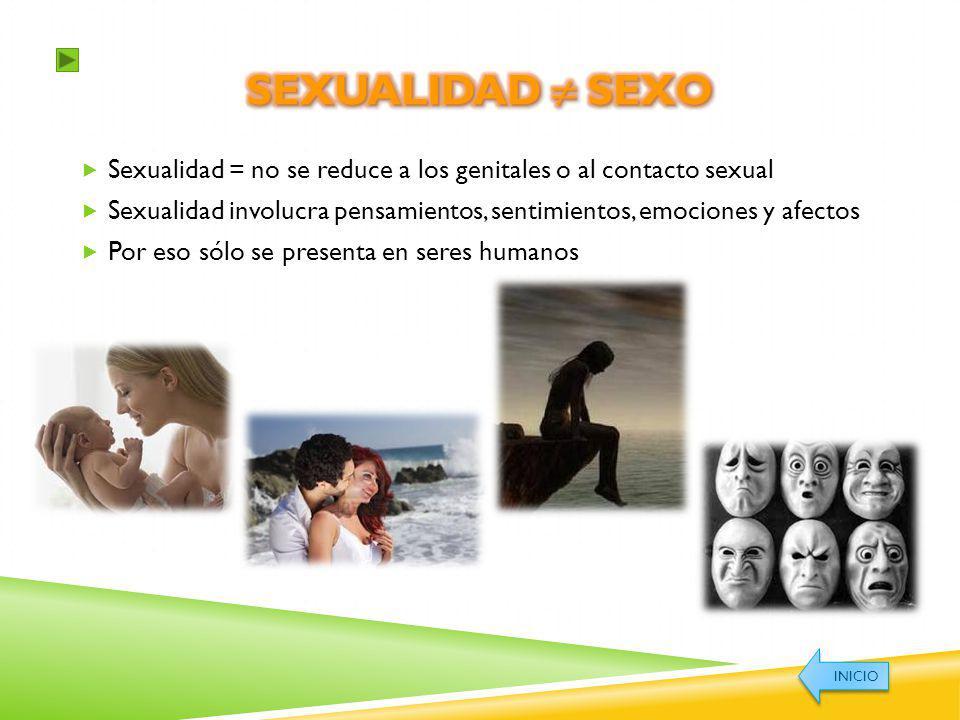 Sexualidad = no se reduce a los genitales o al contacto sexual Sexualidad involucra pensamientos, sentimientos, emociones y afectos Por eso sólo se pr