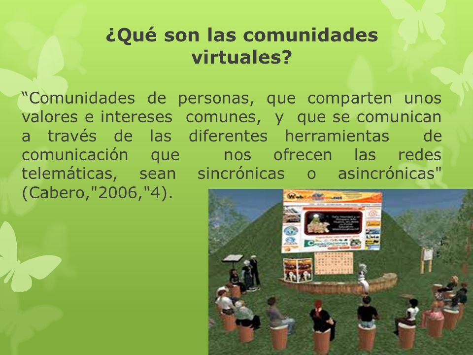 ¿Qué son las comunidades virtuales? Comunidades de personas, que comparten unos valores e intereses comunes, y que se comunican a través de las difere